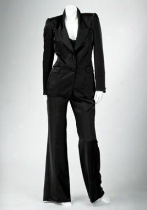 Roberto Cavalli Black Satin Pants Wbt-lpt914rk-blk-42