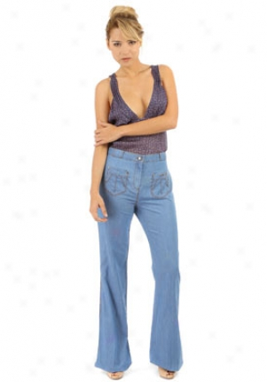 Roberto Cavalli Dismal High Waist And Wide Leg Jeans Je-jdj206vt0-bl-44
