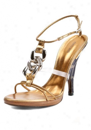 Roberto Cavalli Bronze Leather Chain Highh Heel Sandals T80029jg2060-bro-41