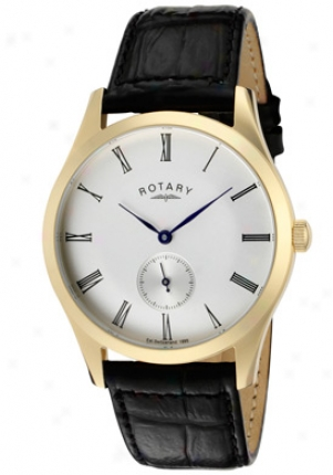Rotary Men's Cream Dial Shiny Black Leather Gs02413/01