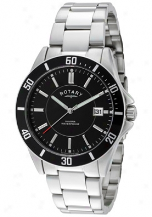 Rotary Men's Havana Black Dial Stainless Steel Gb02800-04