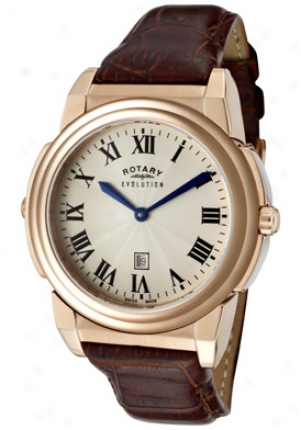 Rotary Women's Evolution Tz2 Reversible White Crystal Brown Leather Els0010-tz2-49-31-bgd