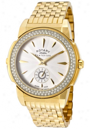 Rotary Women's Evolution Tz2 Reversible Pale Crystal Gold Tone Ss Elb0010-tz2-06-10