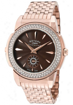 Rotary Women's Evolution Tz2 Reversible Pale Crystal Rose Gold Tone Ss Elb0011-tz2-08-16
