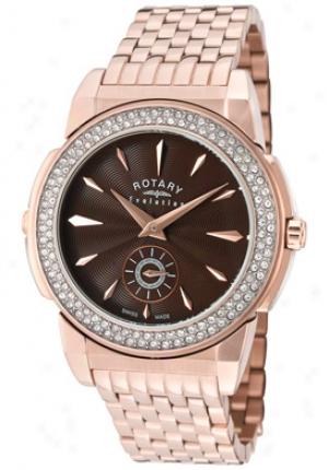 Rotary Women's Evolution Tz2 Reversible Pale Crystal Rose Gold Tone Ss Elb0011-tz2-08-16