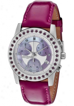 Saint Honore Women's Estella Chronograph Purple & White Crystal Grape Patent Leather 855060.1aypz