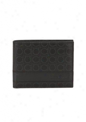 Salvatore Ferragamo Black Gamma Bi-fold Leather Wallet 8742-433473-black