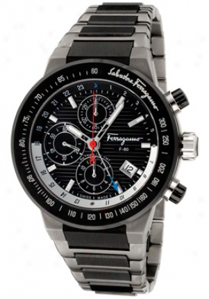Salvatore Ferragamo Men's F-80 Chronograph Gmt Titanium & Black Ceramic F55lca78910z789