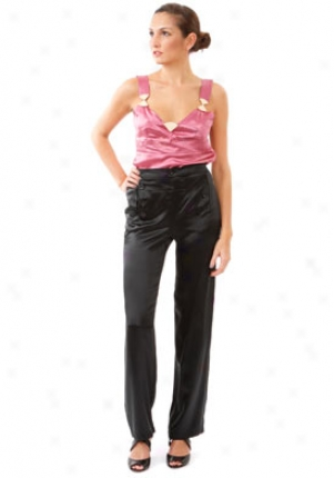 See By Chloe Black Satin Pants Wbt-lp36100t51-blk-46