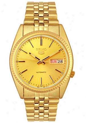 Seiko Men's Automaic Tone Day-date Watch Gold Snxj94