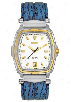 Seiko Men's Blue Leather White Dial Sgd292p1