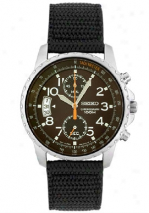 Seiko Men's Chronograph Black Fabric Snn079