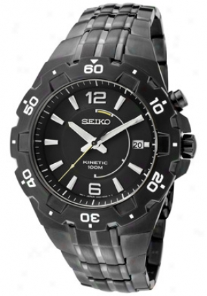 Seiko Men' sKinetic Black Dial Gunmetal Ion Plated Stainless Steel Ska447p1