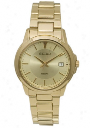 Seiko Men's Quartz Gold Plated W/ Gold Tone Dial Sgef58p1