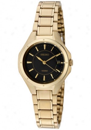 Seiko Women's Quartz Gold Plated W/ Black Dial Sxde18p1