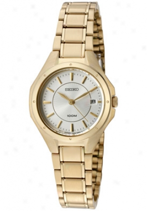 Seiko Women's Silver Dial Gold Tone Ion Plated Stainless Steel Sxde16p1