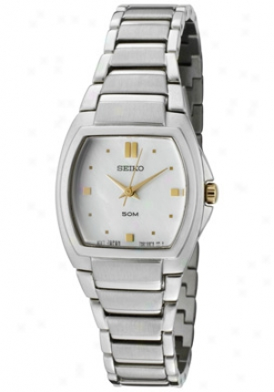Seiko Women's White Mother Of Pearl Dial Stainlesw Steel Srz343