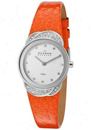 Skagen Women's White Swarovski Crystal White Dial Orange Genuine Leather 818sslo