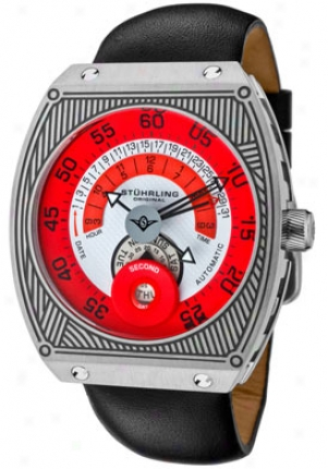 Stuhrling Original Men's Zephyer Automatic Red & White Dial Black Genuine Leather 282-331574