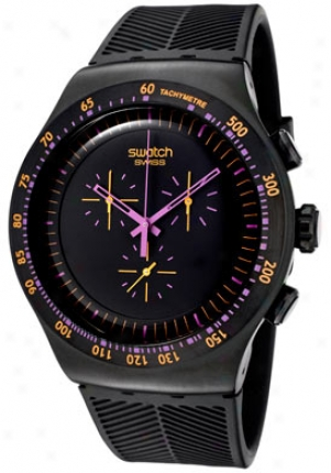 Swatch Men's Irony Chronograph Black Dial Black Rubber Yob102