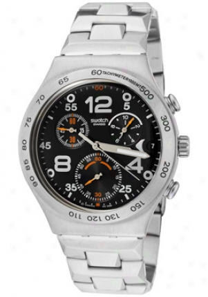 Swatch Men's Irony Chronograph Black Dial Stainless Steel Ycs482g