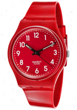Swatch Women's Original Red Dial Red Plastic Gr154