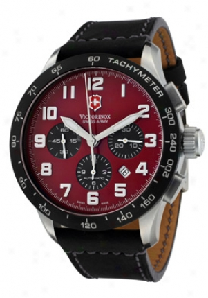 Swiss Army Men's Airboss Mach Vi Automatic Mehcanical Chronograph Red Dial Dark Leather 24785