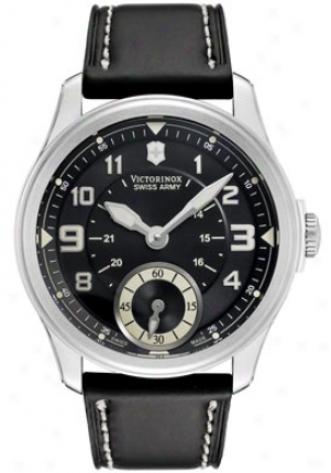 Swiss Army Men's Foot-soldiers Vintage Mechanical Black Dial Black Leather 24137