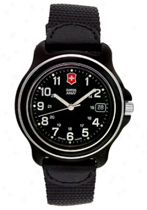 Swiss Army Men's Original Black Leather Black Dial 24378