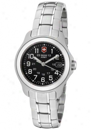 Swiss Army Women's Officer's Ls Black Dial Stainless Steel 24684
