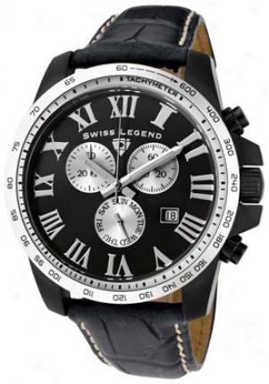 Swiss Leend Men's Crusader Chronograph Black Alligator W/stitching 50082-bb-01-abt06c