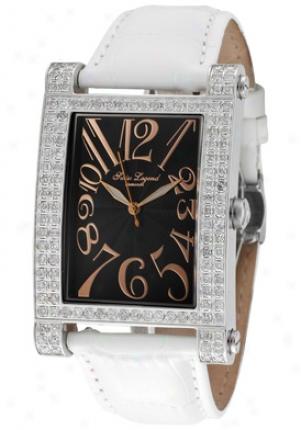 Swiss Legend Men's Elegabza Diamond (2.64 Ctw) Black Guilloche Dial White Leather 40029-11-rn-wht