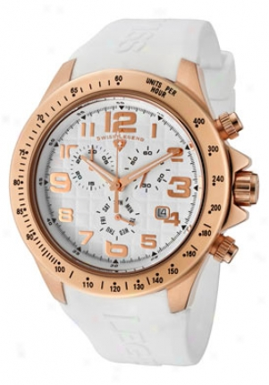 Swiss Legend Men's Eograph Chronograph Pale Dial Rose Gold Tone Case White Silicone 30041-rg-02wht