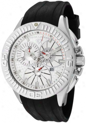 Swiss Legend Men's Evolution Cronograph Silver Textured Dial Black Silicone 10064-02s