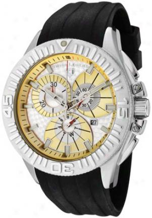 Swiss Legend Men's Evllution Chronograph Silver Textured Dial Dark Silicone 10064-010