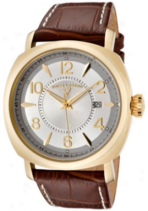 Swiss Legend Men's Executive Silver Dial Gold Tone Brown Leatherr 10050-yg-02s