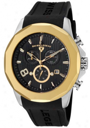 Swiss Fable Men's Monte Carlo Chronograph Black Textured Dial Black Silicone 10042-01-gb