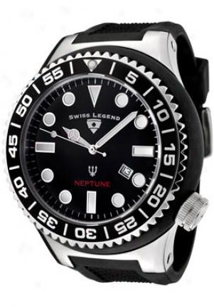 Swiss Legend Men's Neptune Black Dial Black Rubber 21818d-01-nb