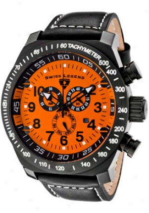 Swiss Legend Men's Sl Steersman Chronograph Orange Dial Dismal Ip Case Black Leather 22828-bb-06