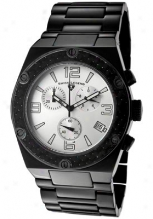 Swiss Fable Men's Throttke Chronograph Black Stainless Steel 40025-bb-sil-sa
