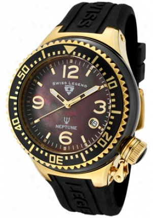 Swiss Legend Neptune Ceramic (44 Mm) Black Mother Of Pearl Dial Gold Tone Black Silicone 11844 -bkbga
