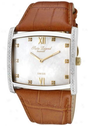 Swiss Legend Women's Beverly Hills White Diamond (0.88 Ctw) White Mop Dial Brown Genuine Leather 40037-yg-02