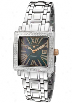 Swiss Legend Women's Colosso Diamond (0.85 Ctw) Black Mother Of Pearl Dial Stainless Steel 20063-11-rn -rc