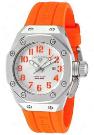 Swiss Legend Women&#039s Trimix Diver White Mop Dial Orange Silicone 10534-02m-06