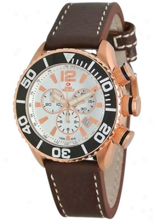 Swiss Precimax Men1s Deep Blue Executive Elite Sp12021 Brown Leather Swiss Chronograph White Dial Sp12021