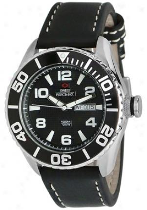 Swiss Precimax Men's Deep Blue Executive Sp12017 Black Leather Black Dial Sp12017