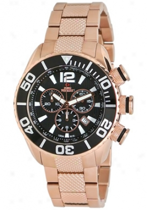 Swiss Precimax Men's Deep Blue Precision Reserve Sp12013 Rose Gold Stainless Steel Chronograph Black Dial Sp12013