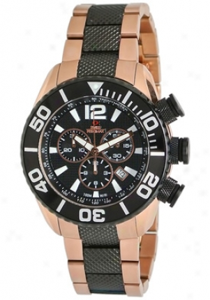 Swiss Precimax Men's Deep Blue Precision Reserve Sp1014 Rose Gold Stainless Steel Chronograph Black Dial Sp12014
