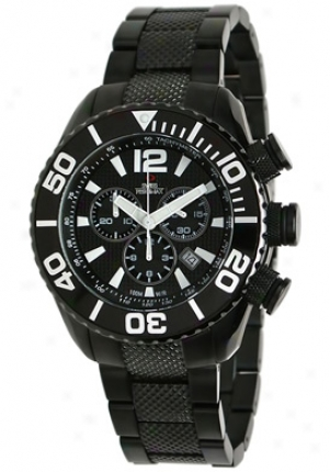 Swiss Precimax Men's Deep Blue Pro Black Stainless Harden Chronograph Black Dial Sp12010