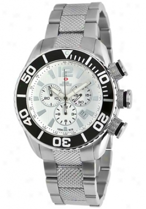 Swiss Precimax Men's Deep Bl8e Pro Silver Stainless Steel Chronograph White Dial Sp12008